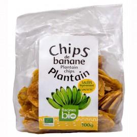 "Chips de banane plantain salees Bio ""Racines Bio"" DLUO 30/07/2020"