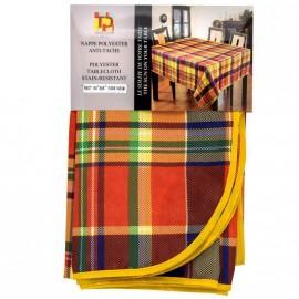 Nappe Madras Polyester Rouge antitache ronde 180cm