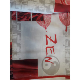 Nappe Polyester antitache 200*148 decor ZEN rouge FIN DE SERIE