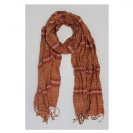 Echarpe coton dégradé avec liseré, marron