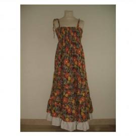 Robe longue, à bretelles, à fleurs, rouge
