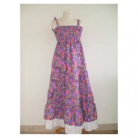 Robe longue, à bretelles, à fleurs, violet, taille unique