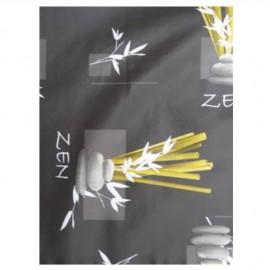 """Toile cirée """"zen"""" fond marron"""