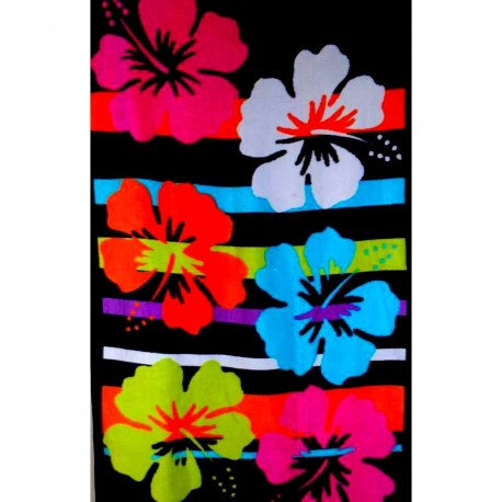 Drap de plage 70x150, fleurs hibiscus