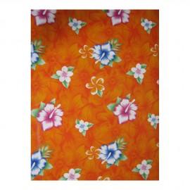 Toile cirée Hibiscus, fond orange, le mètre