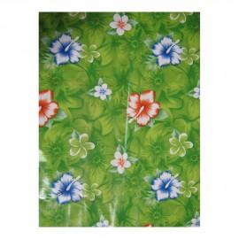 Toile cirée Hibiscus, fond vert, le mètre