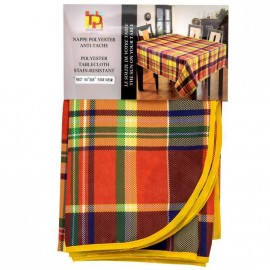 Nappe Madras Polysester rouge antitache 240*148